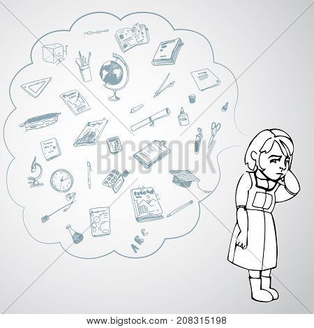 Child, girl, teen, teenager standing frustrated. Study, studying, learning problems. School objects in a cloud. Vector outlined illustration. White image, gray background.