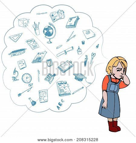 Child, girl, teen, teenager standing frustrated. Study, studying, learning problems. School objects in a cloud. Vector outlined illustration. Colored image, white background.