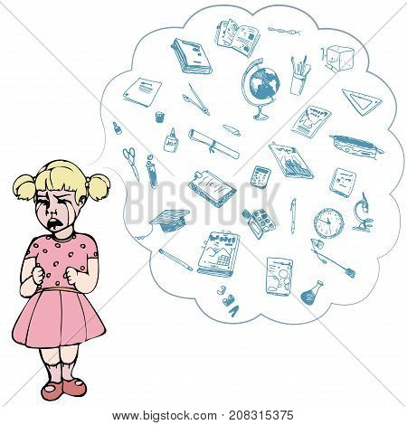 Child, girl, teen, teenager crying. Study, studying, learning problems. School objects in a cloud. Vector outlined illustration. Colored image, white background.