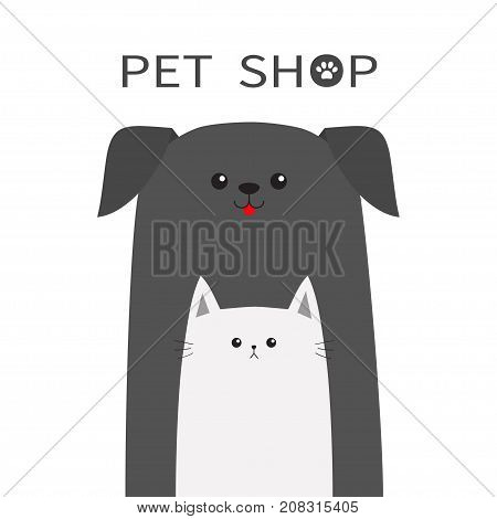 Pet shop icon. Dog Cat animal. Red tongue. Happy pets set. Paw print. Veterinary design element. Cute cartoon funny character. Friends forever. Flat. White background. Isolated. Vector illustration