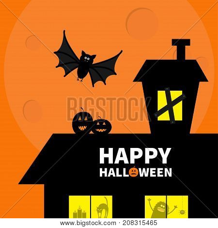 Haunted house roof attic loft. Light on boarded-up windows. Cat arch back. Flying bat. Monster spider Pumpkin Candle. Happy Halloween. Big moon Funny cartoon character Orange background. Flat Vector