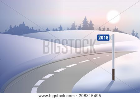 Kilometer mile pillar 2018 on winter road. Concept New Year. Vector illustration