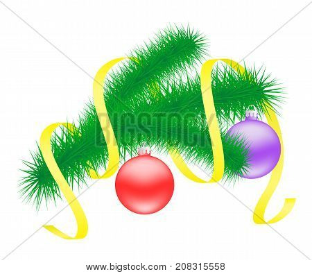 Vector illustration of Christmas branch with balls.