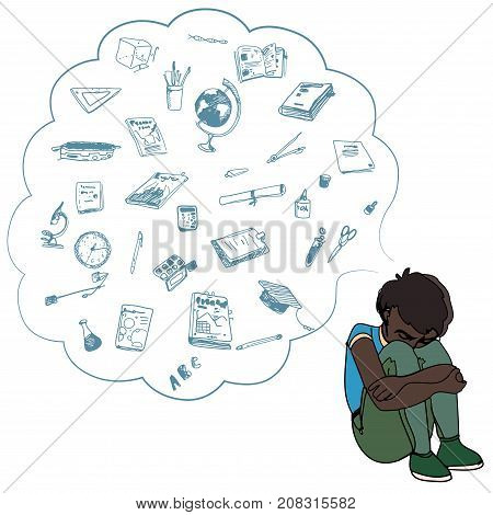Dark skinned child, boy, teen, teenager sitting frustrated. Study, studying, learning problems. School objects in a cloud. Vector outlined illustration. Colored image, white background.