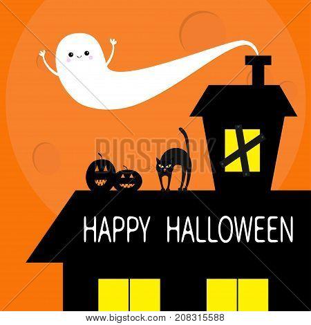 Haunted house roof attic loft. Light on boarded-up windows. Cat arch back. Flying ghost. Pumpkin. Happy Halloween. Big moon Funny cartoon character Orange background. Flat design Vector illustration