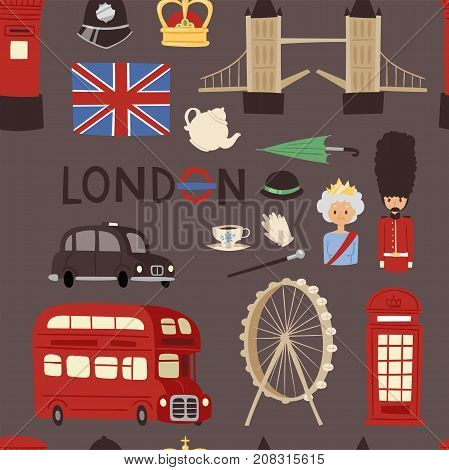 London travel icons english set city flag europe culture tourism england traditional vector illustration. Famous british city architecture britain seamless pattern background