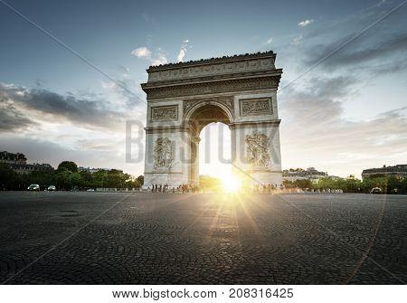 Triumphal Arch at sunset, Paris, France