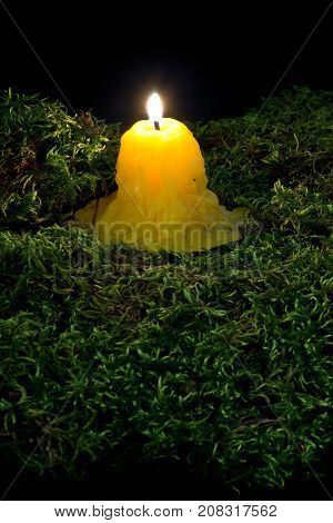 A Lit Candle On The Forest Dark Moss. Part Of Helloween Decoration On Black Background.