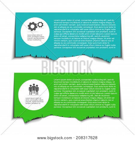 Business infographic wth rip paper ripped edges and space for text. Shredded page banner for web and print sale promo advertising presentation brochure. Vector illustration.