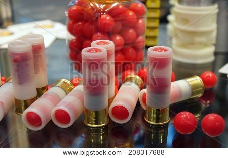 Kiev Ukraine - October 10 2017: Armory cartridges as an exhibit at the XIV International Specialized Exhibition ARMS AND SECURITY 2017 October 10-13 2017