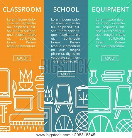 School classroom furniture linear posters. Class interior design, school equipment renovation flyers. Desk, chair, doorway, lamp, floor whiteboard, air conditioner, blackboard vector illustration