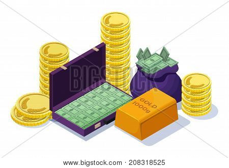 Cash money set with gold bar, golden yellow coins, case with banknotes, sack with treasures, financial concept, isometric 3d vector illustration