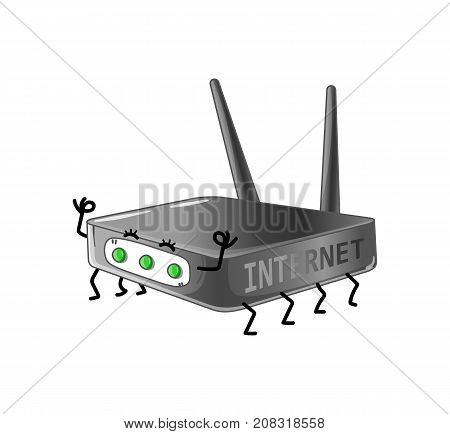 Funny internet router isolated cartoon character. Modern appliance with emotional face, home electronic device comic mascot vector illustration.