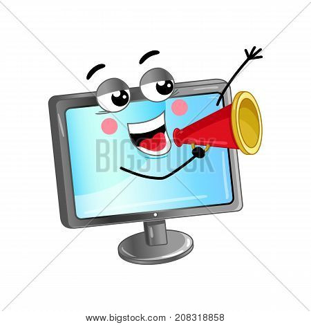Happy lcd monitor with megaphone cartoon character. Modern appliance with emotional face, home electronic device comic mascot vector illustration.