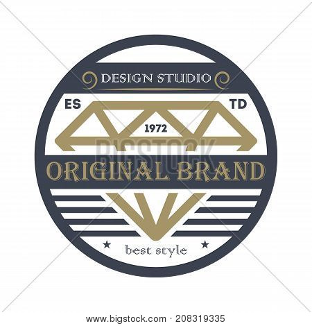 Original business brand emblem in retro style. Premium quality badge, company retro symbol, product identity design vector illustration.