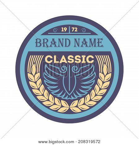 Classic vintage branding element in blue style. Premium quality badge, company retro symbol, product identity design vector illustration.