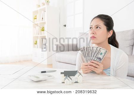 Young Beautiful Girl Holding Banknote Cash