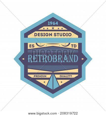 Vintage product branding isolated element. Premium quality badge, company retro symbol, product identity design vector illustration.