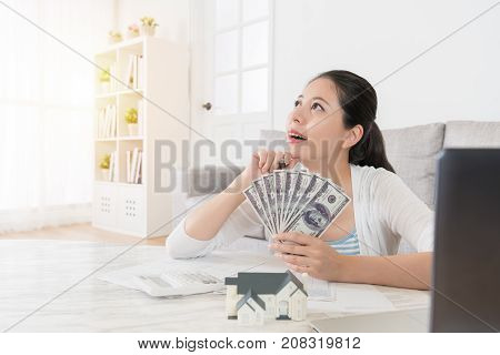 Housewife Counting Personal Saving Money Banknote