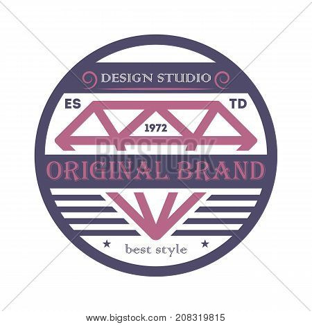 Original brand emblem in retro style. Premium quality badge, company retro symbol, product identity design vector illustration.