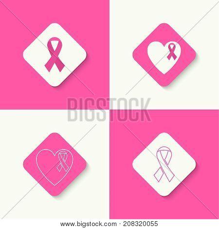 Set icons Breast Cancer Awareness Ribbon. vector. pink