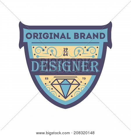 Original retrobrand sticker in blue style. Premium quality badge, company retro symbol, product identity design vector illustration.