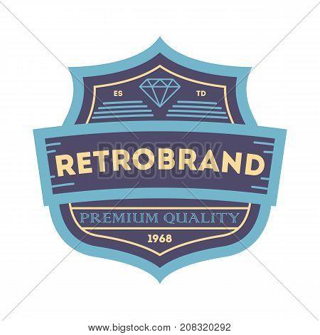 Retrobrand label in blue style. Premium quality badge, company retro symbol, product identity design vector illustration.