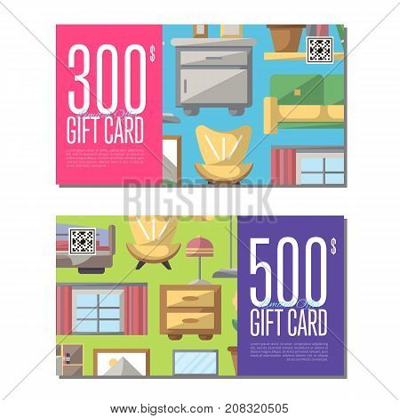Gift card for bedroom furniture. Home interior design certificate, apartment decoration discount voucher. Bed, bedside table, armchair, sofa, flower pot, lamp, cupboard, window vector illustration.