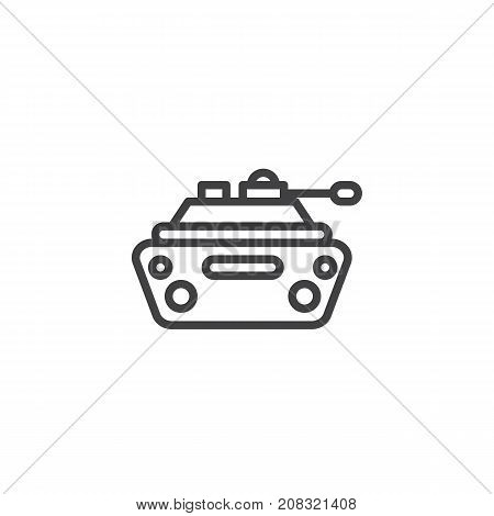 Military tank line icon, outline vector sign, linear style pictogram isolated on white. Symbol, logo illustration. Editable stroke