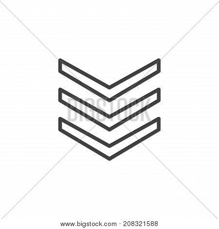 Rank shoulder straps line icon, outline vector sign, linear style pictogram isolated on white. Symbol, logo illustration. Editable stroke