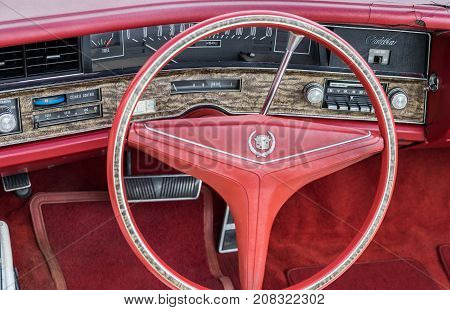 Vintage Cadillac Interior - Steering Wheel With Logo And Dashboard (focus On Dashboard)