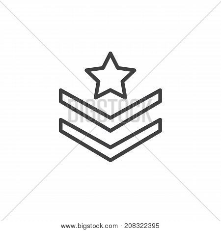 Rank shoulder straps with star line icon, outline vector sign, linear style pictogram isolated on white. Symbol, logo illustration. Editable stroke