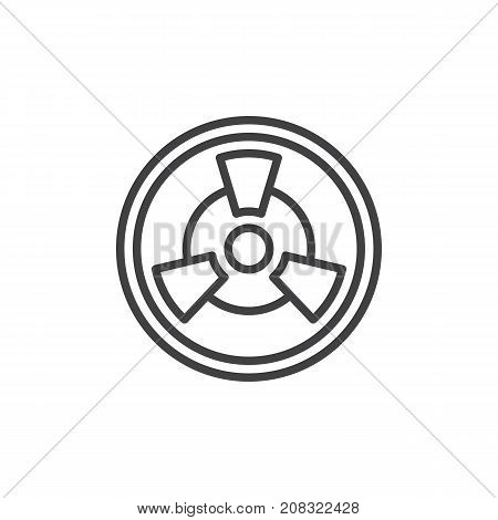 Toxic line icon, outline vector sign, linear style pictogram isolated on white. Radioactive hazard symbol, logo illustration. Editable stroke