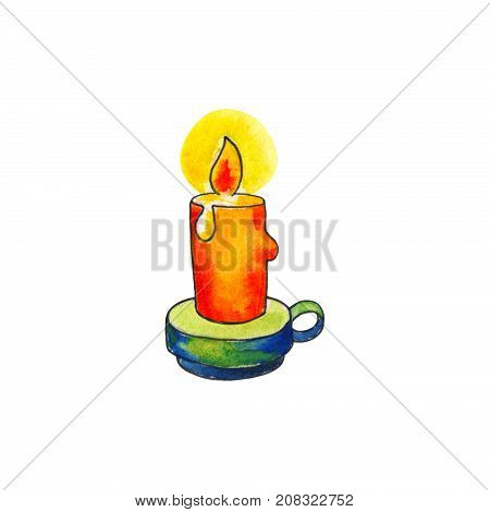 Candle with fire by watercolor on white background. Lightening candle in candlestick handdrawn illustration. Fired wax candle. Vintage night lighting. Orange candle doodle icon. Hygge interior design