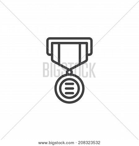 Medal line icon, outline vector sign, linear style pictogram isolated on white. Symbol, logo illustration. Editable stroke