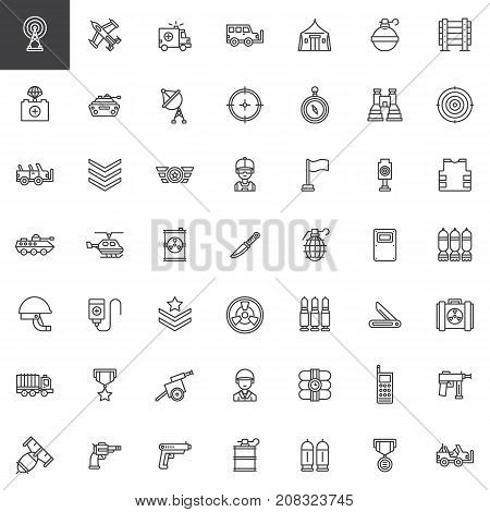 Military equipment line icons set, outline vector symbol collection, linear style pictogram pack. Signs, logo illustration. Set includes icons as tank, military truck, armored vehicles, artillery, gun