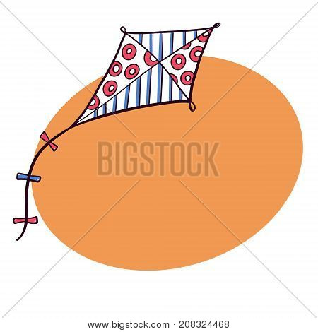 Hand drawn, doodle sketch style diamond shaped kite flying in the sky and space for text, vector illustration isolated on white background. Sketch, doodle diamond kite, hand drawn marker illustration