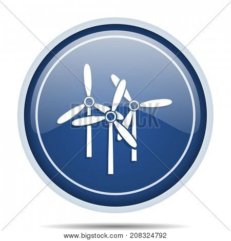 Renewable energy blue round web icon. Circle isolated internet button for webdesign and smartphone applications.