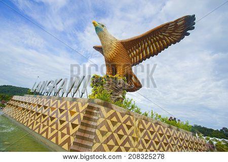 Langkawi, Malaysia - 3Rd September 2017: Shot Of Langkawi's Famous Landmark The Eagle Square, Datara
