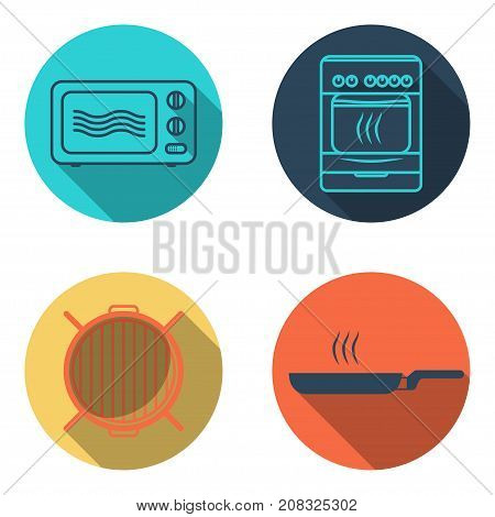Cooking flat icon set, microwave, grill, skillet and oven