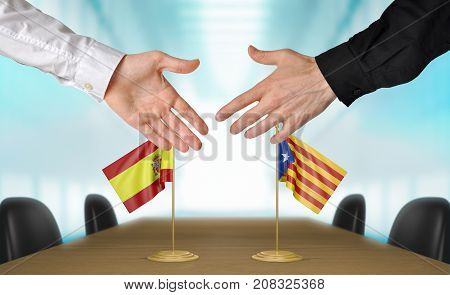 Spain and Catalonia diplomats shaking hands to agree deal, part 3D rendering