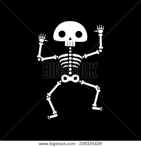 Skeleton dance. Funny dancing cartoon skeleton vector illustration