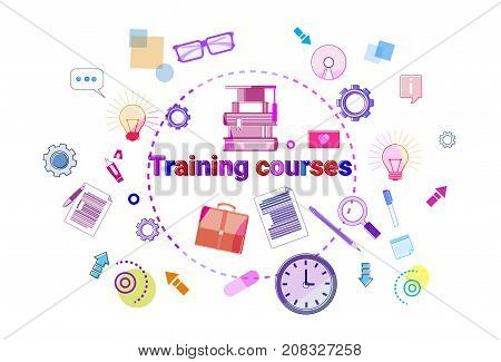 Training Courses Banner Online Education Elearning Concept Vector Illustration
