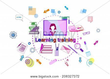 Learning Training Courses Banner Online Education Elearning Concept Vector Illustration