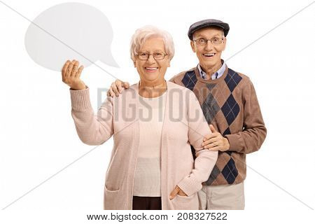Elderly couple with a speech bubble isolated on white background