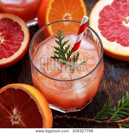 Glass of refreshing alcohol drink with orange juice, vodka or white rum served with ice orange slice. shot of drink from the bar in restaurant or cafe.Enjoy summer long drink