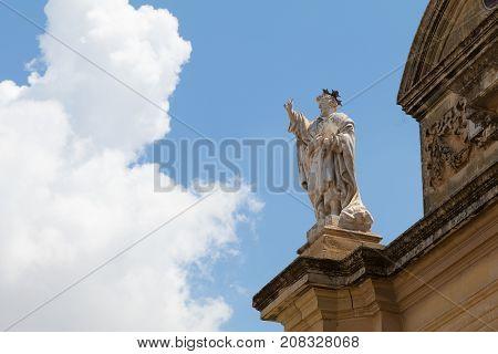 Facade of the Roman Catholic parish church of Zurrieq, Knisja ta' Santa Katerina in Maltese, Zurrieq, Malta, May 2017 poster