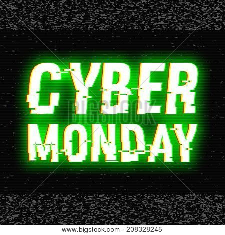 Cyber Monday glitch text. Anaglyph 3D effect. Technological retro background. Online shopping concept. Sale, e-commerce, retailing, discount theme. Vector illustration. Creative web template