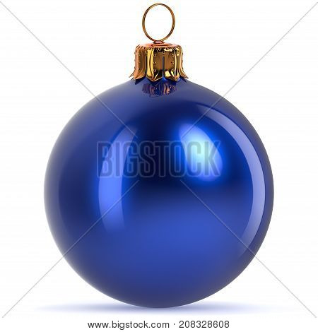 3d rendering Christmas ball decoration blue New Year's Eve hanging bauble adornment traditional Happy Merry Xmas wintertime ornament polished closeup