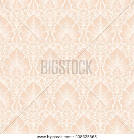 Vector damask seamless pattern background. Classical luxury old fashioned damask ornament, royal victorian seamless texture for wallpapers, textile, wrapping. Exquisite floral baroque template